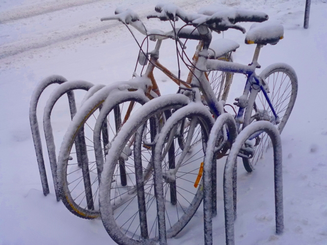 Bikes in Winter, Montreal